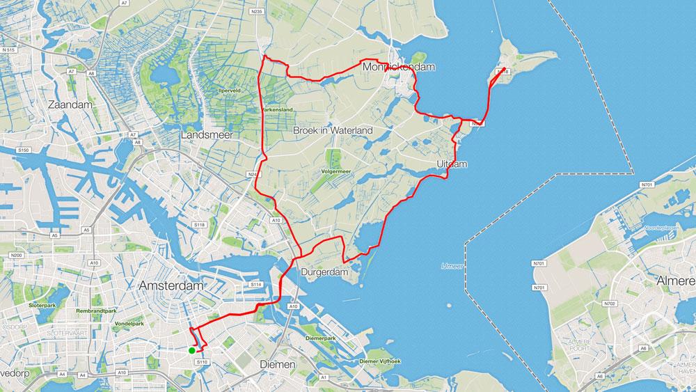 Ingeklikt wielrennen routes amsterdam retour marken for Retour amsterdam