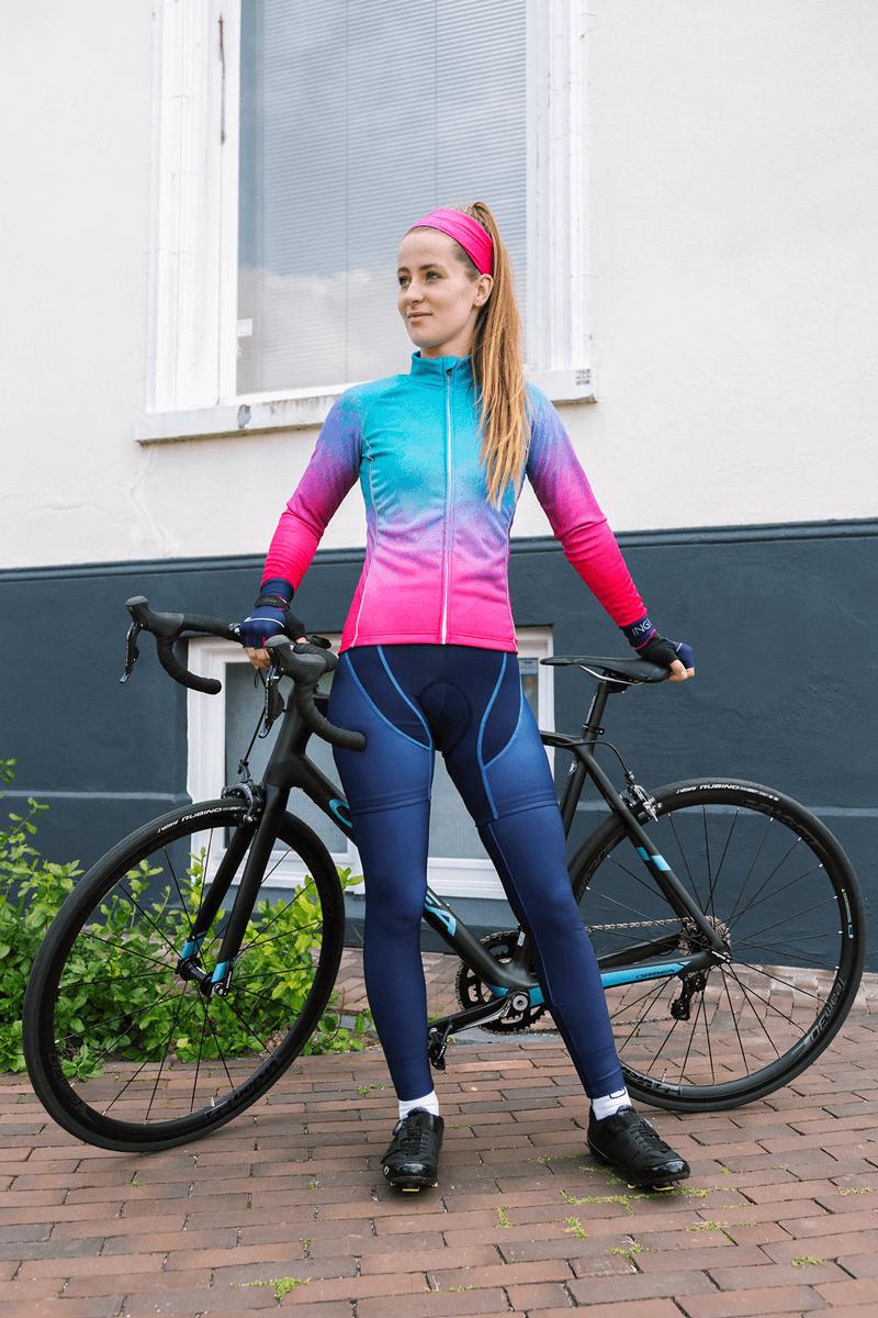 dames-fietsjack-blauw-roze-watercolor