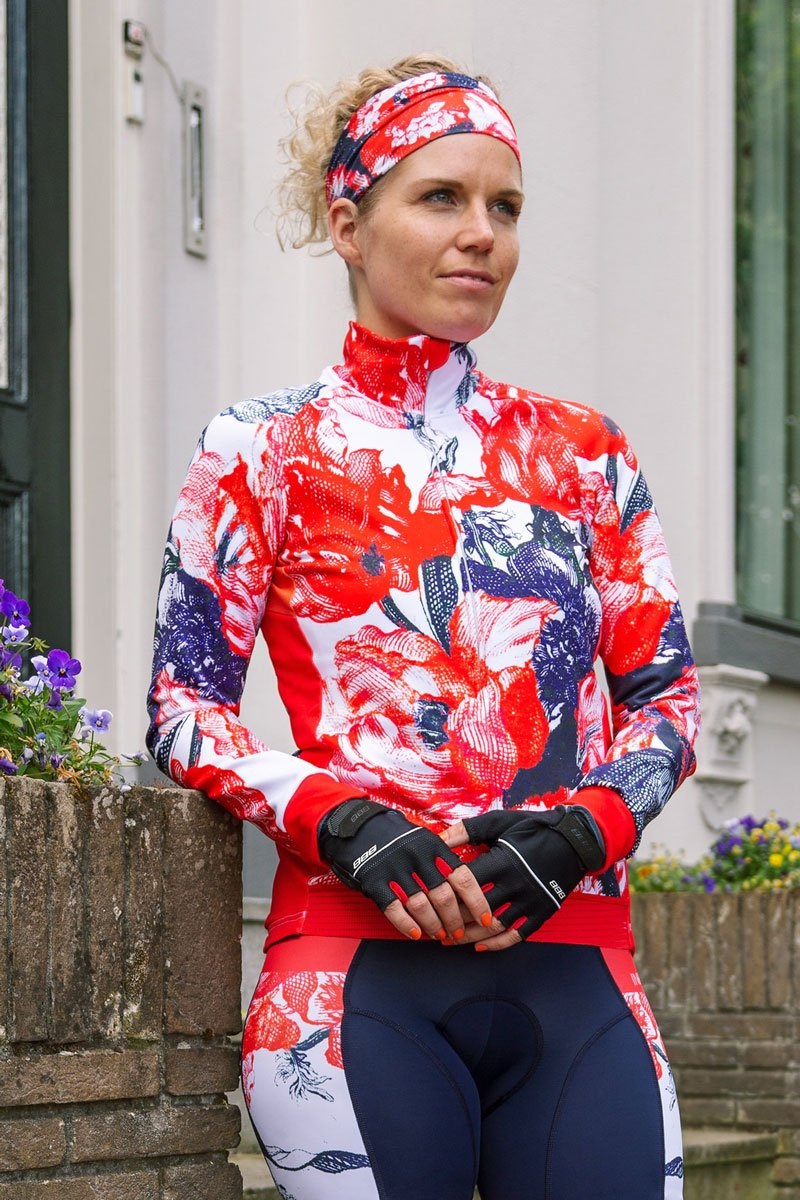 cycling-jacket-flower-red-print