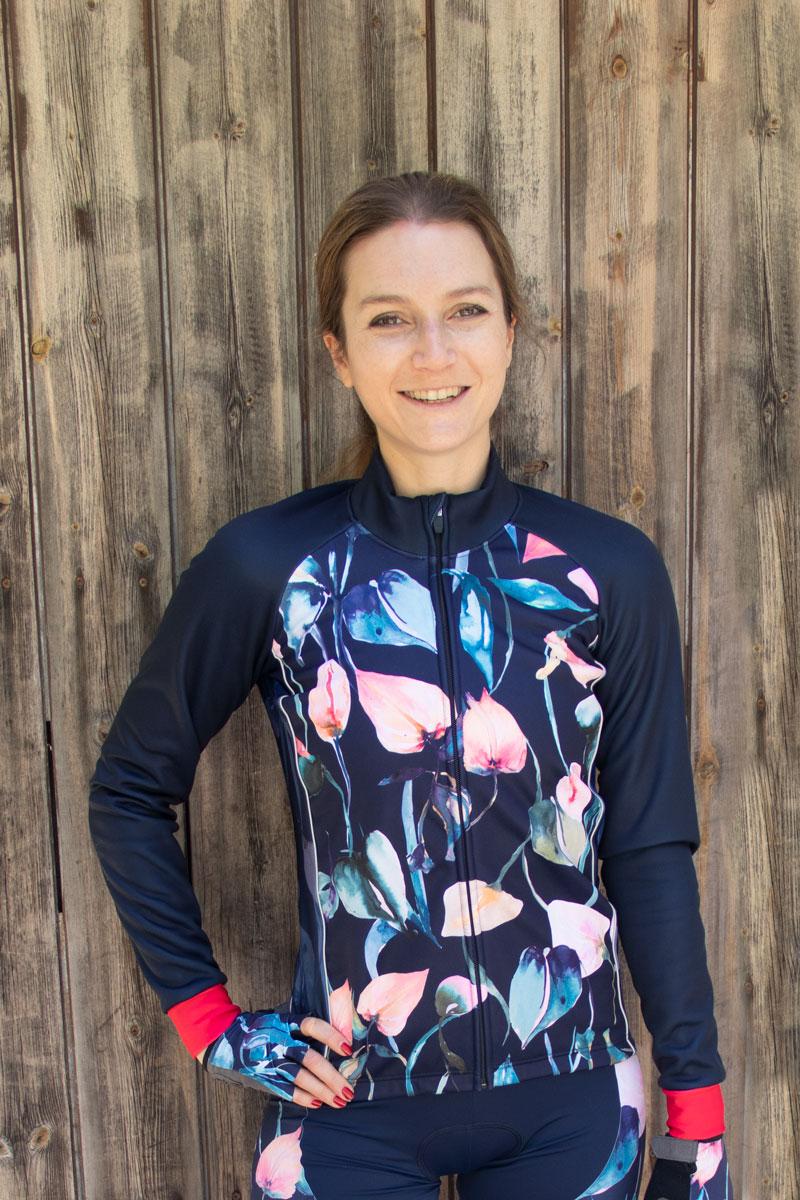 dames-fietsjack-blauw-roze-bloemen