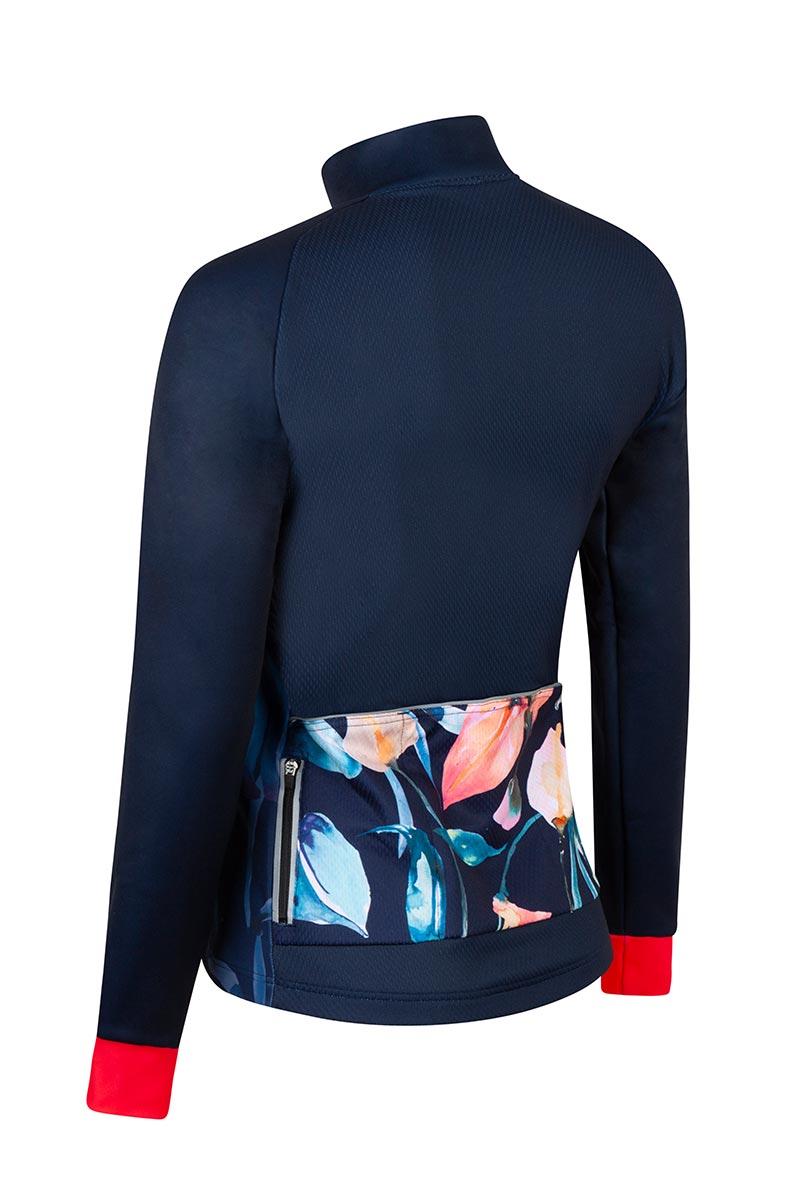 fietsjack-winter-dames-bloemenprint-blauw